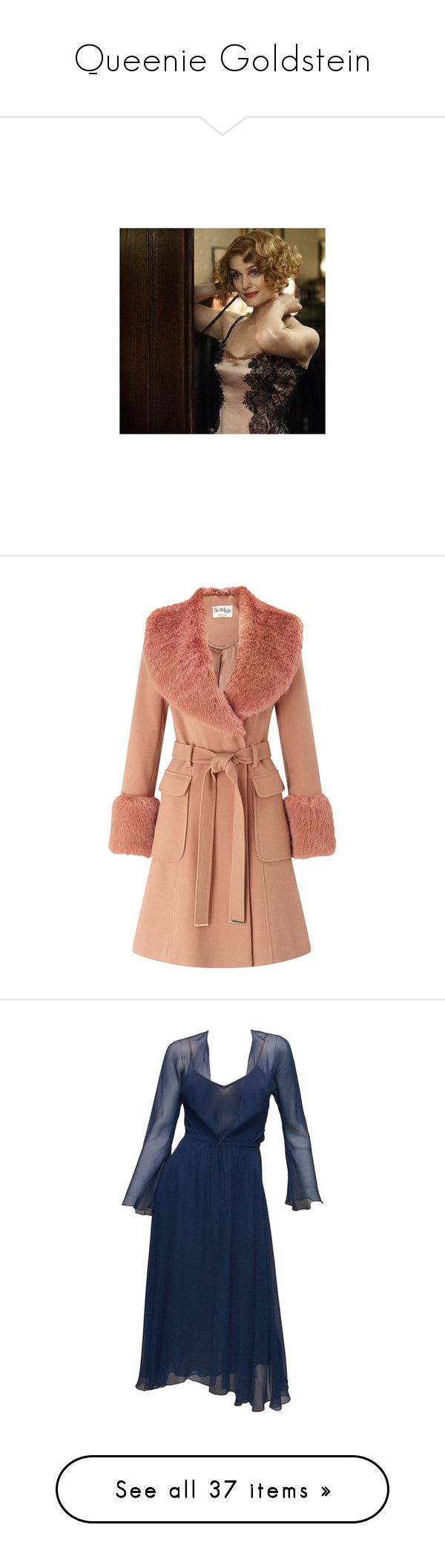 """Queenie Goldstein"" by daughterofmagic ❤ liked on Polyvore featuring outerwear, coats, jackets, leather-sleeve coats, fake fur coats, faux fur collar coat, red faux fur coat, miss selfridge, costumes and accessories"