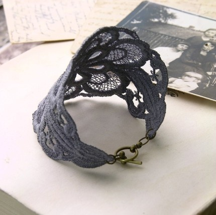 Lace Cuff Bracelet (would look awesome in white with pearl details for wedding.. consider ending with ribbons  a charming bow)