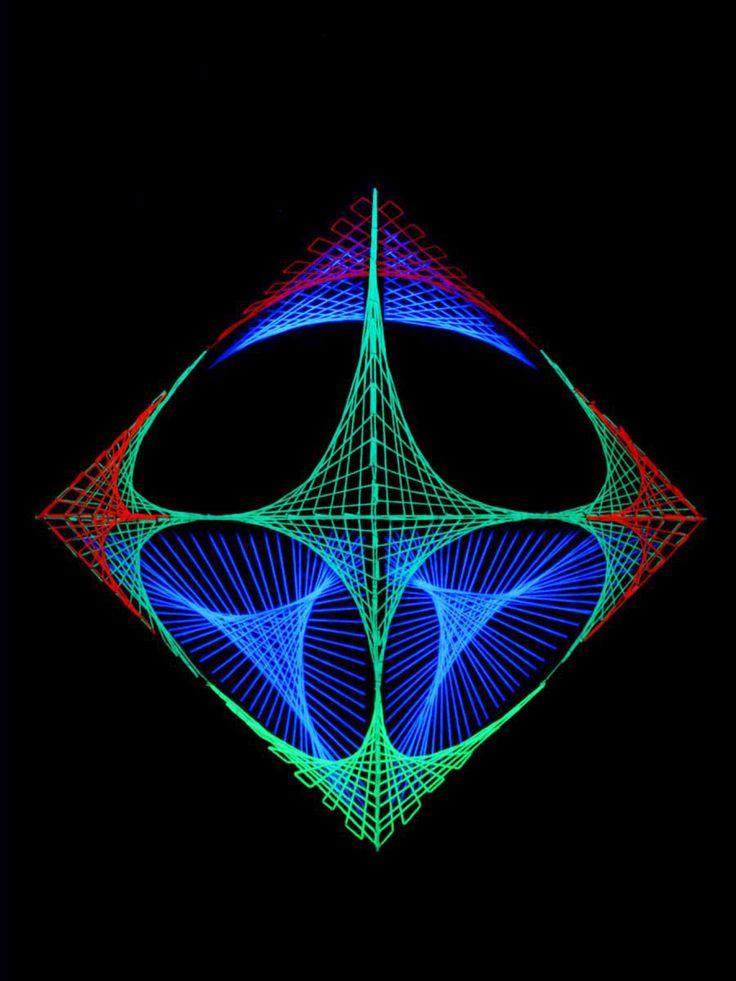 "55x55cm StringArt Deko Quadrat - Mind Change System ""Deep Journey""  #blacklight #schwarzlicht #stringart #fadendeko #deco #string #art #psy"