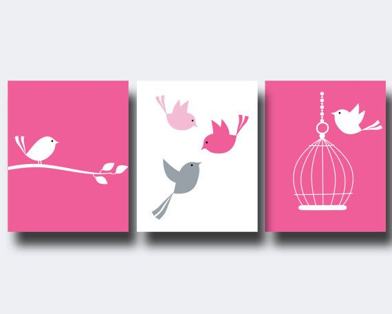 Nursery Bird Art Print Baby Girl Wall Art Prints Pink by HopAndPop, $28.00