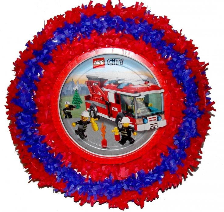 World of Pinatas - Lego City Pull String Pinata, $27.99 (http://www.worldofpinatas.com/lego-city-pull-string-pinata/)
