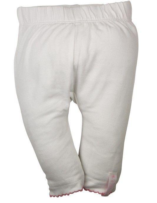 Meisjes witte legging van het kinderkleding merk Dirkje babywear.  Een effen witte meisjes legging afgewerkt met een roze kant.