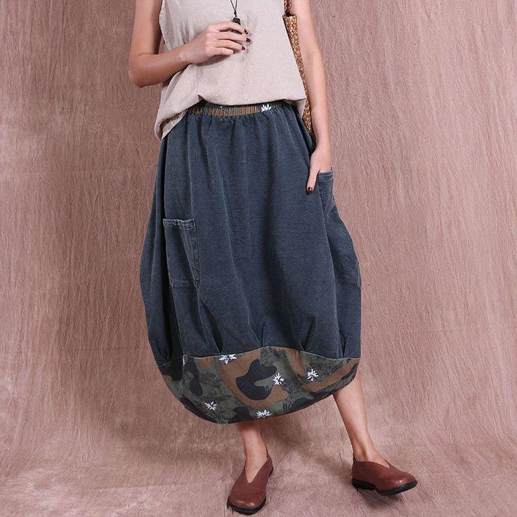 Irregular Women Cotton Loose Linen Casual Gray Skirt