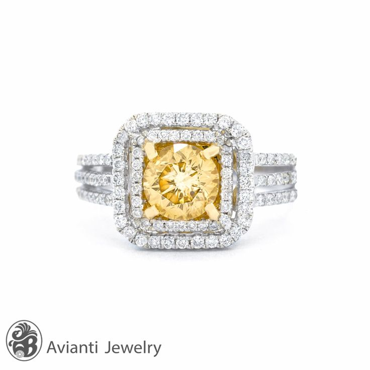 Ring, Double halo Ring, Diamond Double Halo, Canary Diamond Engagement Ring, Engagement Ring, Split Shank Ring | LDR01902 by AviantiJewelry on Etsy https://www.etsy.com/listing/194180490/ring-double-halo-ring-diamond-double