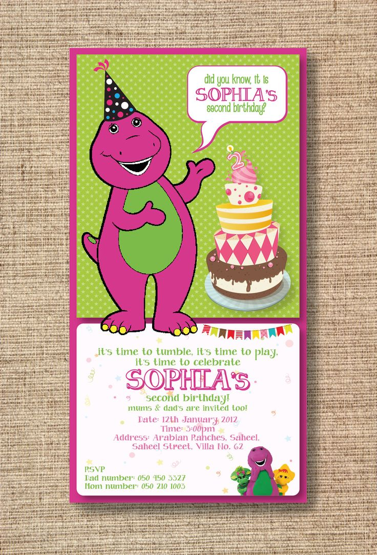 84 best Barney Party images on Pinterest Barney party Birthday