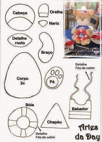 ARTE COM QUIANE - Paps,Moldes,E.V.A,Feltro,Costuras,Fofuchas 3D: Molde Ursinho marinheiro