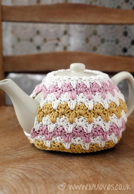 Knit or Crochet Mug Hug Snugs, Tea Cozy/Cosy/Cosies! And other wraps for food items Crochet tea cosy - Lululoves
