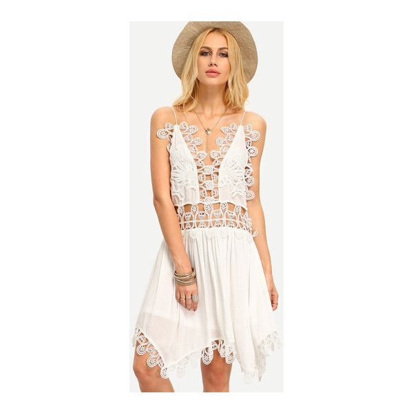 SheIn(sheinside) Beige Spaghetti Strap Hollow Crochet Patchwork... (£15) ❤ liked on Polyvore featuring dresses, white, short dresses, white slip dress, white sleeveless dress, white slip and white dress