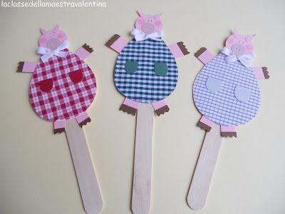 manualidades con palitos de helado: Crafts With, Pigs, Kids Class, Creative Kids, Pre Schools, Conte Les, Children'S Crafts, Cream, Crafts
