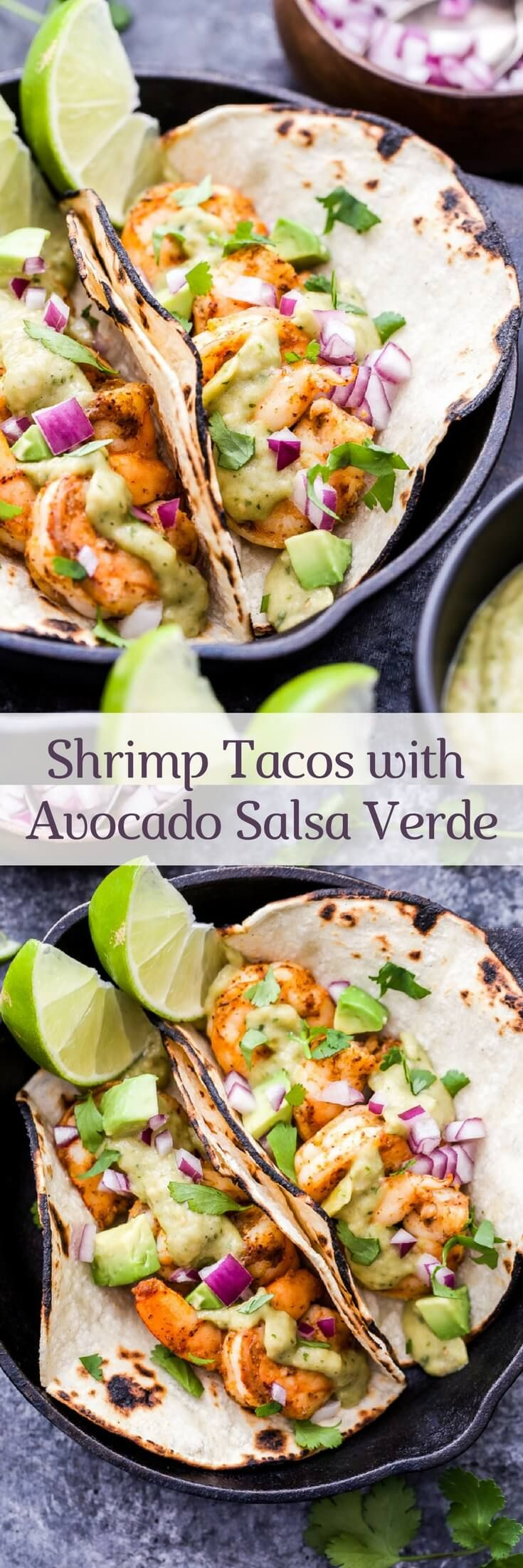 Shrimp Tacos with Avocado Salsa Verde