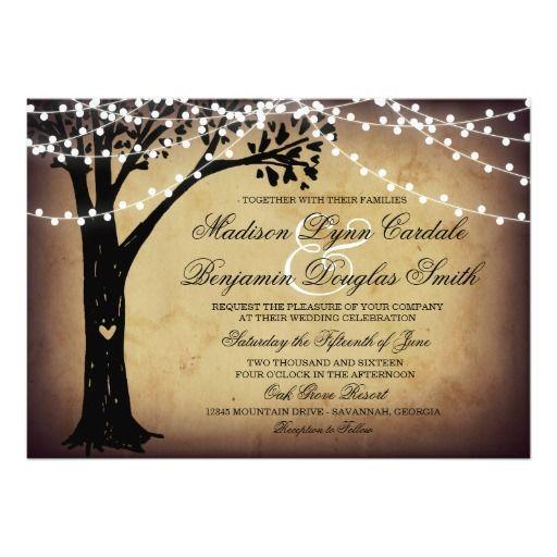String of Lights Rustic Oak Tree Wedding Invitations