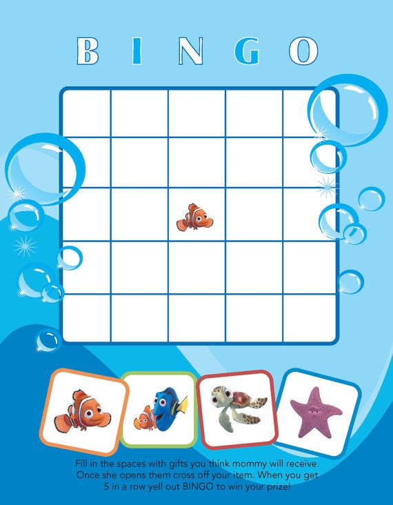 Printable Finding Nemo themed Baby Shower Bingo by jennya309, $4.50