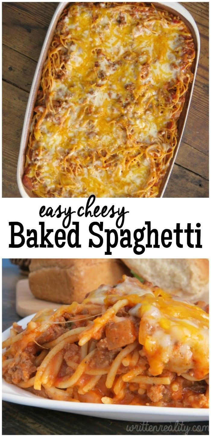 Easy Cheesy Baked Spaghetti recipe. Here's an easy ground beef recipe that even the kids will love! It's a comfort food classic that's hearty and easy to make, too.