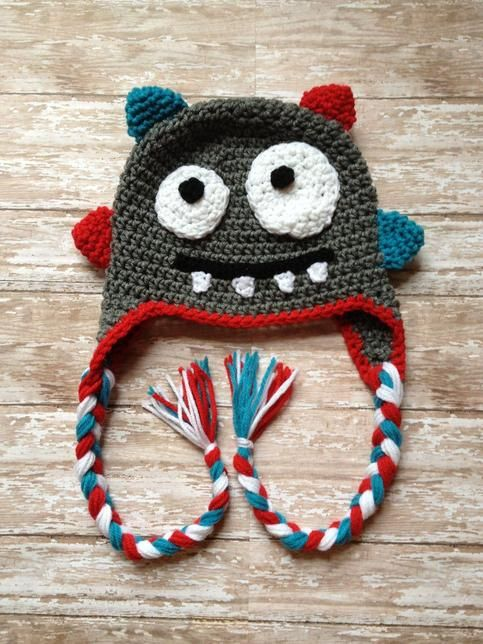 Crochet hat made for your lil monster. Made from soft acrylic yarn to keep your little one's head nice and warm for those cold days and nights.  Colors can be customized. Please specify desired colors if different from those in photo.