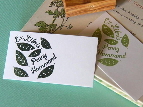 Custom Tumbling Leaves Bookplate Olive Wood Stamp