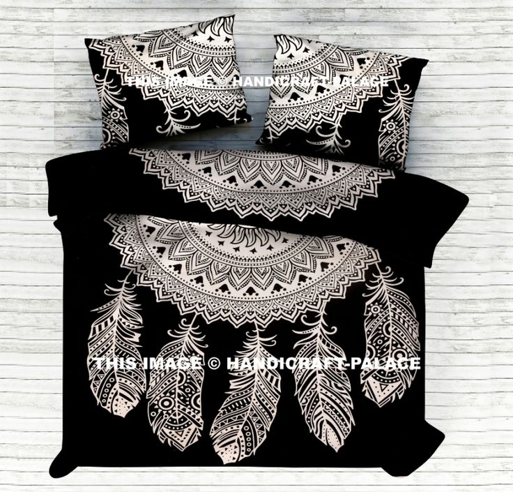 Indian Dream Catcher Reversible Duvet Doona Quilt Cover Set #Traditional #Beautiful #Ethnic #Indian #Double #Bohemian #Hippie #Gypsy #Decor #Bedding #Set #feather  #Love #decorative #Pillow #cushion #case #sham #slip #India #art #Turquoise #Tiedye #Queen #royal #luxury #bedding #room #home #decor #live #life #love #boho #cotton #black #white