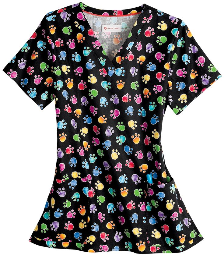 Nursing Scrubs, Veterinary Print - White Cross 100% Cotton Colorful Paws Scrub Top