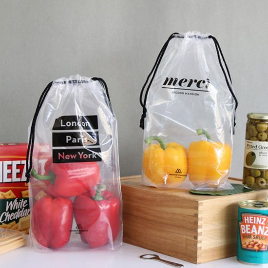 PlanD Travel transparent drawstring pouch bag set - fallindesign