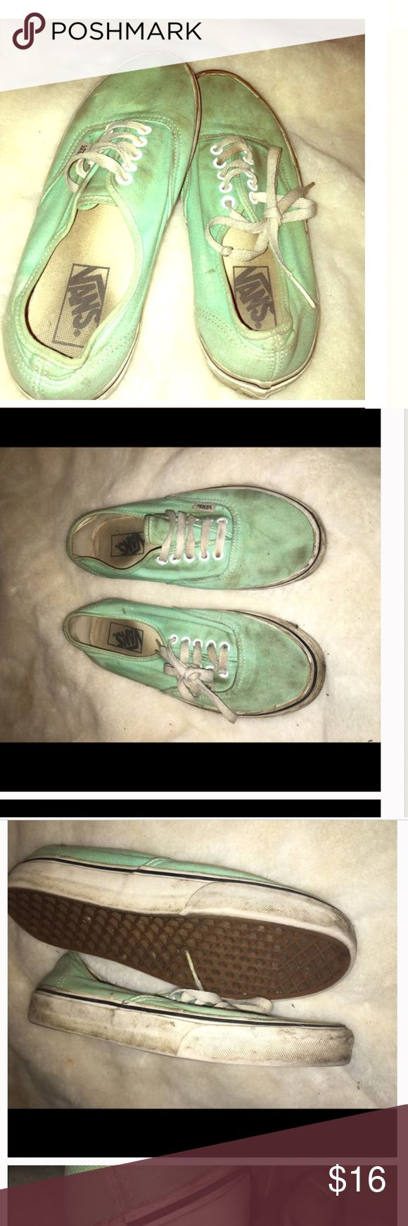 Mint Green Vans •Reposting because I had some strange comments on my previous listing. They are classic van sneakers from journeys. Women's 8, men's 6 •Condition: pre loved. Still have a ton of life left in them, but just need to be washed. SALE is FINAL  •Please feel free to make offers! ✅  •NO ❌🅿️🅿️or Ⓜ️erc❌ •Measurements & more pictures available upon request!  •FREE GIFT INCLUDED (when gifts are available)🎁 Vans Shoes Sneakers
