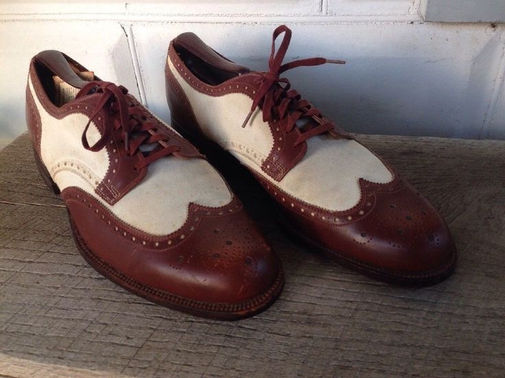 Vtg Thomas Shoes Mens Wing Tip White & Brown Size 7.5 Dress Shoes  sold for $49.99
