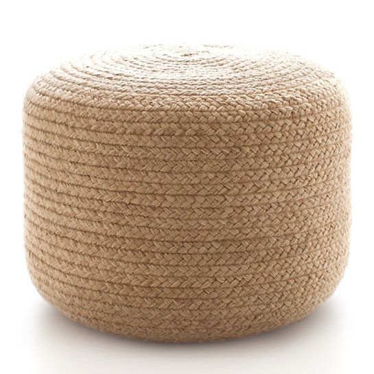 Fresh American Braided Natural Indoor/Outdoor Pouf