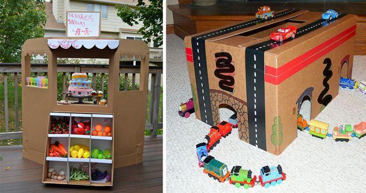 Filléres kreatív ötletek, gyerekjátékok készítése kartondobozból. Ezek között a játékok között biztosan minden gyerek találna kedvére valót.