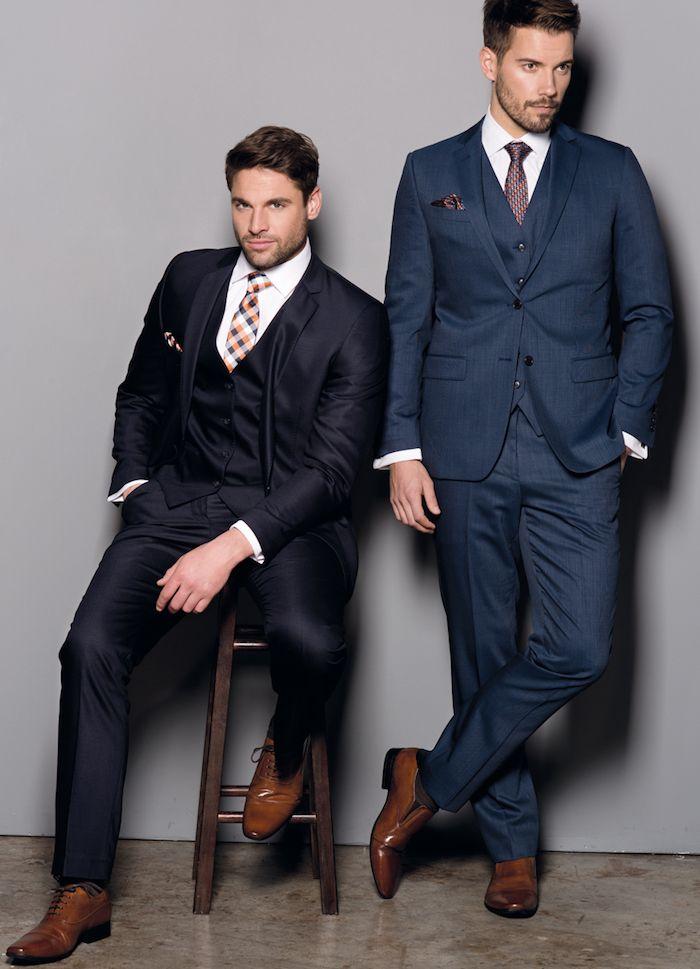 80b38f2bd blauer anzug dunkelblaue ideen marineblau oder tiefe osmos farbe kariierte  krawatten braune schuhe stil ideen models männer