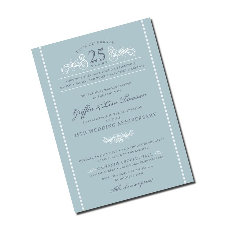 silver wedding anniversary invitations%0A Silver   th Wedding Anniversary Invitation  Personalized Printable File or  Print Package Available  Scroll Anniversary