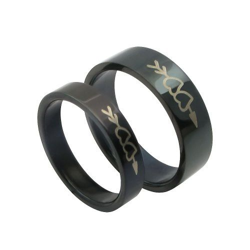 Black Titanium Stainless Steel Wedding Bands Mens Ladies Promise Ring with  Laser Stone Mandrel Design