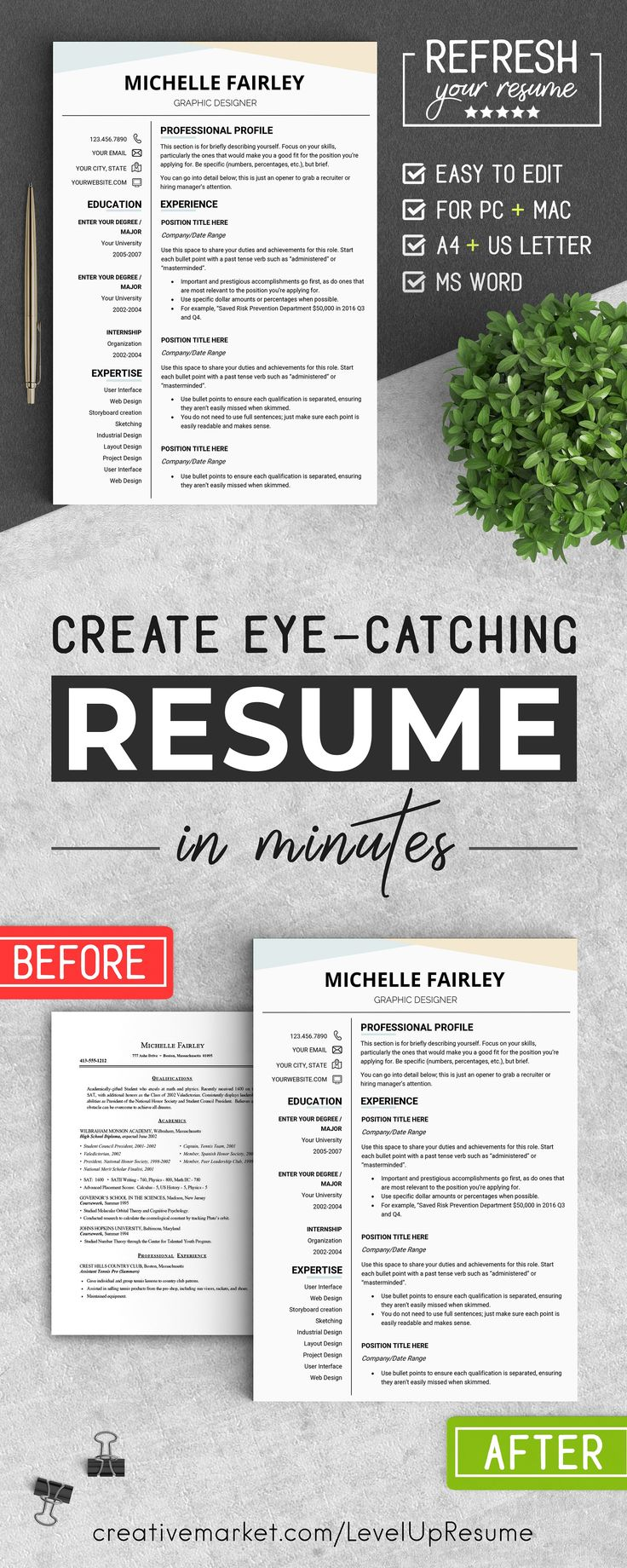 Resume Template For High School Student With No Work Experience%0A Professional RESUME Template  MF by LevelUpResume on  creativemarket  resume   resumetemplate  job