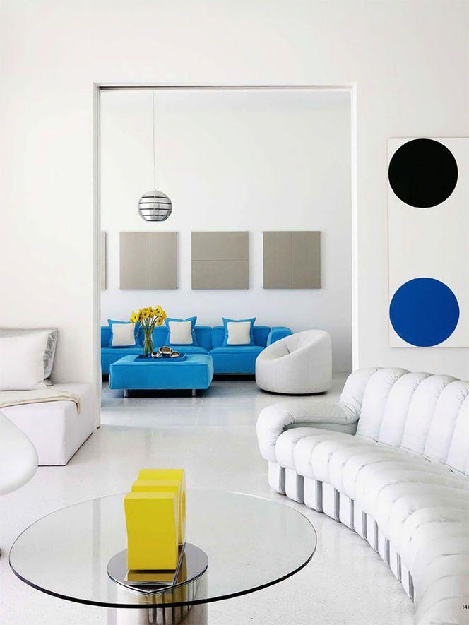 White De Sede DS 600 Sofa Elle Deco USA Designer Christine Harper Photo Colorful DecorModern Living RoomsWhite Room