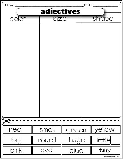 Printables Cut And Paste Worksheets For First Grade 1000 images about grade 1 worksheets on pinterest simple sort color size shape adjectives paste antonyms sorting freebie ad