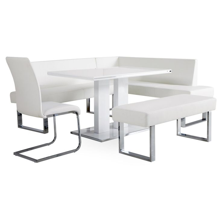 Have to have it. Armen Living Amanda 5 Piece Corner Dining Set with Benches - White - $2040 @hayneedle