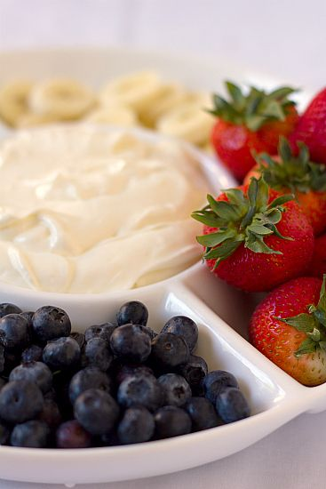 Easy peasy fruit dip. And this is so delicious! With only two ingredients, it's so easy to whip up in a flash!