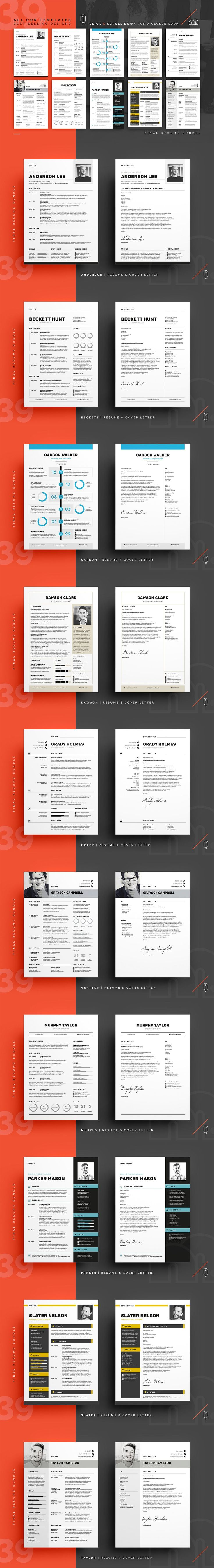 What's Inside The Final Bundle? 39 Resume/CV & Cover Letter Templates and 10 Business Card Templates. Get the job you want with best resume bundle on Creative Market!