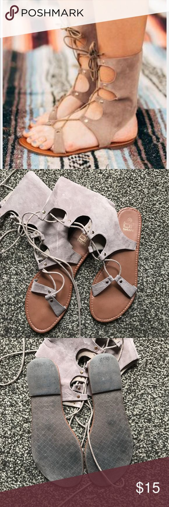 Threee bird nest lace up soft suede gladiators Threee bird nest lace up soft suede like gladiators great condition siZe 10 Three Bird Nest Shoes Sandals