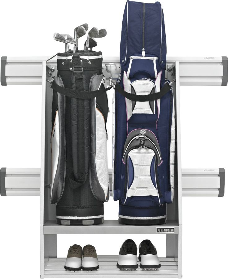Premier Series Weleded Steel 2-Bag Golf Caddy Garage Wall Storage Wall Mounted Sports Rack