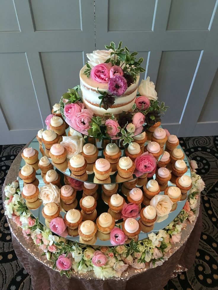 Cupcake Tower | Wedding Cupcakes | Country Club Weddings | Blush Wedding | Naked Cake | Cake by The Cake Stand Bakery in Voorhees | Display by @A Garden Party Florist | Sequin Table | Cake Display