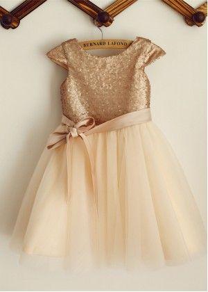 Champagne Sequin Tulle Knee Length Flower Girl Dress