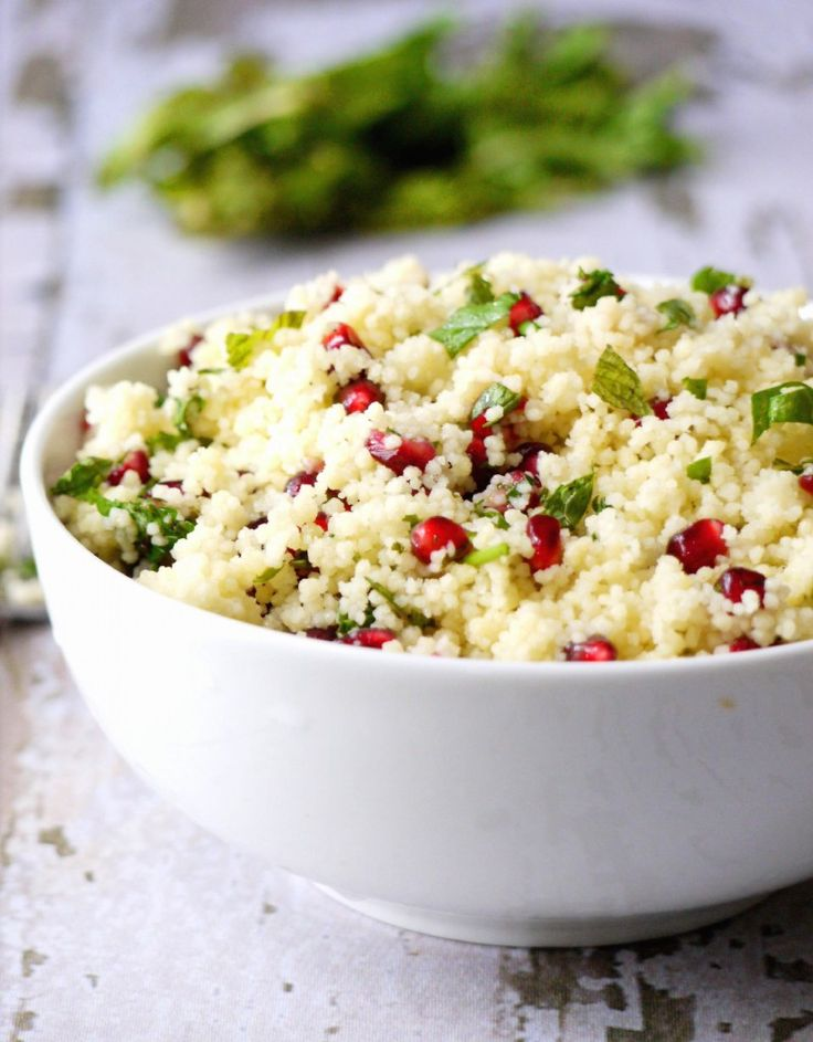yellow couscous salad with pomegranate dressing