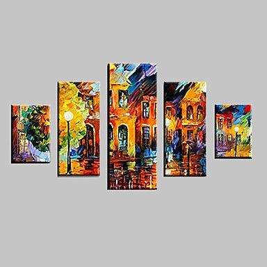 HANDMÅLAD Abstrakt Landskap Abstrakta landskap DjurTraditionellt Klassisk Fem paneler Kanvas Hang målad oljemålning For Hem-dekoration 1632208 2017 – Kr.627