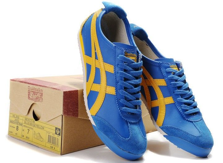 pretty nice 2dc83 df81c Men's Blue Yellow Onitsuka Tiger Mexico 66 Shoes ...