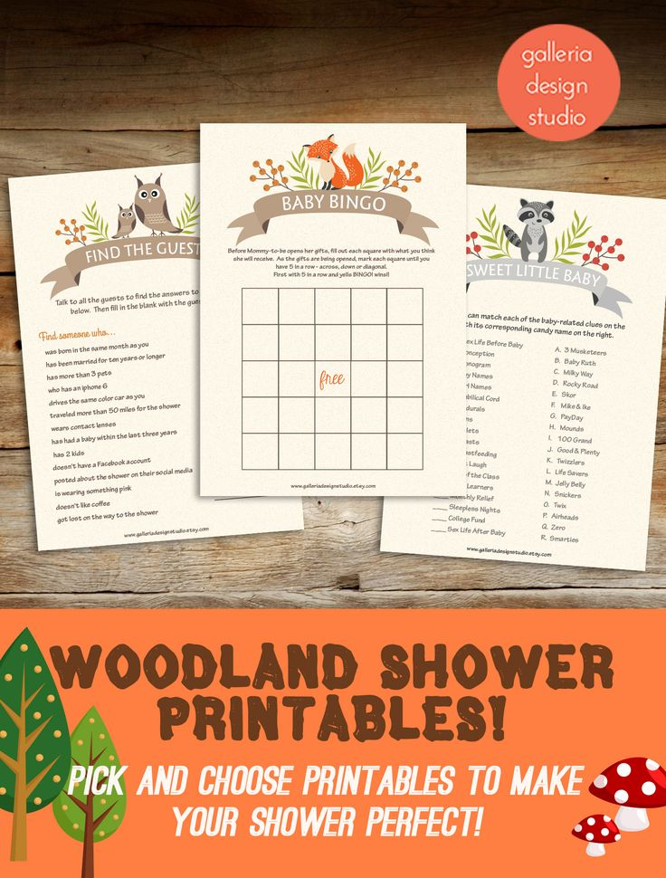 Woodland Baby Shower Games you can download instantly and print at home!
