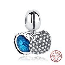 Filho Mãe de Prata Esterlina 925 Piece Of My Heart Esmalte Azul Charme fit Pandora Pulseiras Jóias Acessório original alishoppbrasil