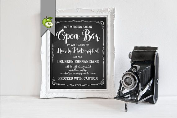 ♥Chalkboard open bar wedding sign This party will have an Open Bar it will also…