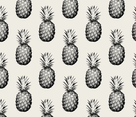 Pineapples black and cream large fabric by thecumulusfactory on Spoonflower - custom fabric