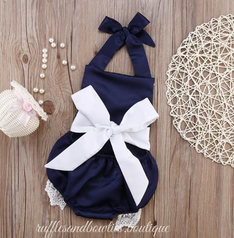 PRE ORDER - Baby Girl Kids Navy Blue Lace Cotton Backless Bodysuit with Big Bow - Sleeveless - Jumpsuit Outfit - Sunsuit Clothes Baby Girl - Fall Fashion - Trendy Baby Clothes