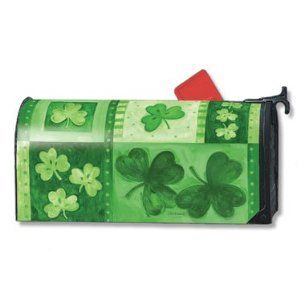 Shamrock Collage St. Patricks Day Magnetic Mailbox Cover,$14.99