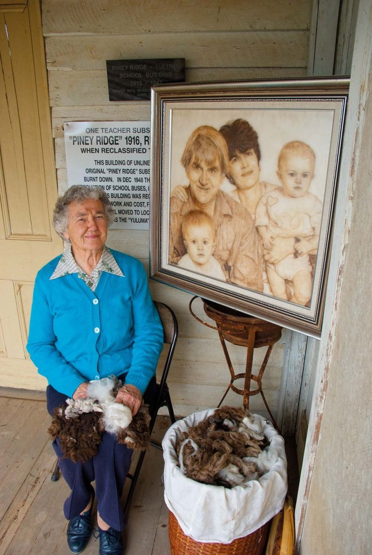 Doris Golder, from the tiny New South Wales town of Lockhart, is thought to be the only person to create portraits from wool.