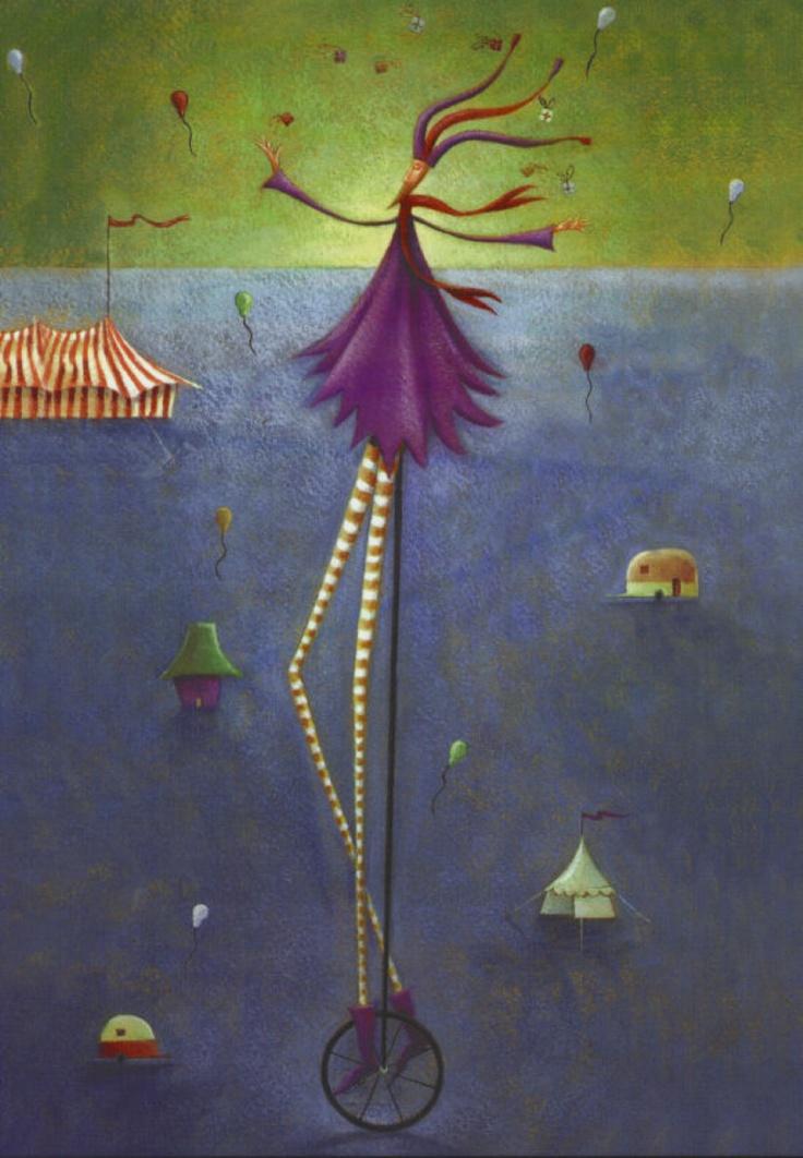 Jester pretty circus unicyclist watercolour illustration